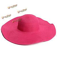 Женщины дамы девушки летом большие широкие флоппи брим соломы пляж шляпа солнца разноцветные крышки