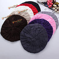 Женщины леди зима теплая вязаная шапка крючком сутулятся мешковатые шапка беретом шапочки