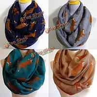 Шарф женщин зима теплая животных мило лиса печати париж пряжа обруча шали пашмины