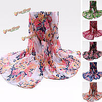 Женщины дамы пион цветок напечатанный вуали scraves цветочные украла длинный мягкий обруча шали