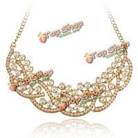 Элегантные белые бусины сплав воротник цепи ожерелье