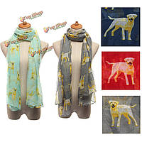 Женщины шарф зимой тепло щенки животное собака печать шаль обруча пашмины
