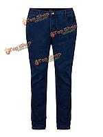 Вскользь тонкий карман середины талии женщины джинсы штаны