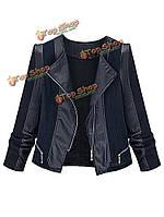Плюс размер женщин черный PU лоскутное молния куртки