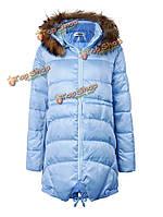 Женщины шнурком длинный рукав нерегулярные загустителях с капюшоном теплое пальто