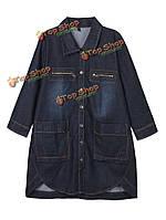 Сыпучих женщин лацкане твердых кнопку карман высокий низкий джинсовые куртки
