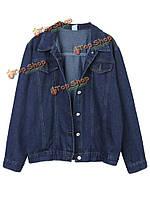 Панк стиль Винтаж женщин Нагрудные карманы чистый цвет джинсовые куртки