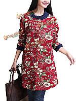 Народная стиль женщин однобортный карман цветочный принт сгущаться хлопок пальто