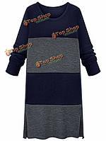 Плюс размер тонкий цвет блока длинный рукав вязать платье