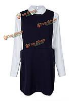 Шикарных женщин плюс Размер две пьесы с длинным рукавом лацкане платье