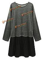 Тонкий лоскутное плиссированные длинным рукавом платье фигурист