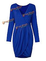 Сексуальный длинный рукав разделения тела с вырезом в форме V bodycon платье midi