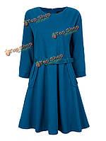 Ремень тонкий твердый половина рукав мини-платье фигуристом