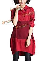 Случайные свободные пэчворк длинный рукав лацкане мини рубашку платье