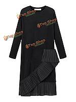 Оборки тонкий черный плиссированные лоскутное женщин длиной до колен платье