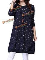 Блудниц вывода шеи длинный рукав карман печатных теплый бархатное платье