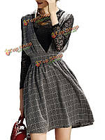 Ремень лук старинные кружева тонкий проверка лоскутное две штуки женщины фигурист платье