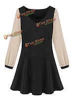 Оборками вскользь тонкой шифона лоскутное V шеи женщины фигурист платье
