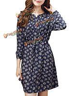 Оборками старинные случайный темно-синий цветочный кнопки шнурок женщины фигурист платье