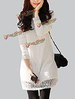 Элегантный бархатный белый / черный кружевной выдалбливают прямые женщин нижней мини-платье