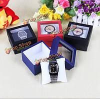 Корпус часов коробка окна прозрачной для браслет ювелирных изделий кольца серьги настоящего подарочные