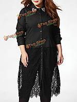 Элегантные женские нагрудные вышивки бутона шелка шить полые рубашка платье