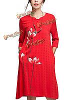 В китайском стиле женщины доступнее Lotus чернила живописи хлопок белье платье