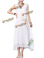 Китайский стиль белый без рукавов напечатаны свободный макси платье для женщин