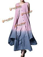 Элегантные женщины контраст градиент цвета поддельные из двух частей платье хлопкового белья