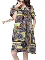 Элегантных женщин китайский стиль шаблон печати карманный мини-платье
