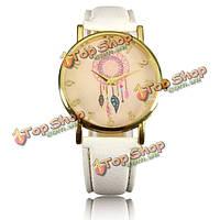 Случайные женщины dreamcather кварцевые наручные часы полосы пера из искусственной кожи