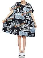 Случайные старинные женщин свободные цветочные печати карманные мини-платье