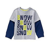 Реглан серый на мальчика 2-3-4-5 лет Снег Crazy8 (США)