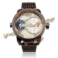 Oulm мужские 3221 двойной Часовой пояс нержавеющая сталь ремешок большой циферблат спортивные часы