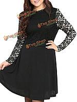 Женщины плюс размер черные кружева лоскутное подкладка фигурист платье