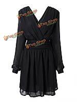 Женщины плюс размер Глубокий V спинки с длинным рукавом шифоновое платье