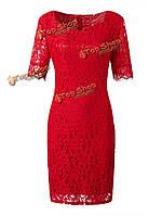 Плюс размер женщин красный выдалбливают с коротким рукавом кружева платье мини-оболочка