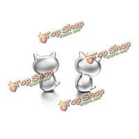 Корейские милые стерлингового серебра 925 пробы уха кота серьги стержня для женщин