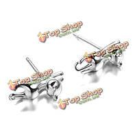 Прекрасные стерлингового серебра 925 платины животное маленькая кошка уха серьги стержня