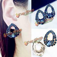 Роскошный синий кристалл сердце водослива серьги стержня уха женские украшения