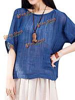 Свободные женщины Batwing рукав твердый карман хлопкового белья футболку