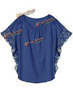 Кружева лоскутное Batwing рукав верхней футболки Женское случайные свободные