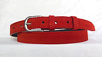 Кожаный замшевый женский ремень 25 мм красный пряжка серебрянная овальная