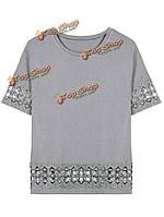 Женщины свободно вязания крючком лоскутное выдолбить футболку