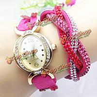 Старинные кулон сердце цепь PU Кожаный ремешок женщин браслет часы