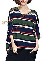 Цветовой контраст рукав сыпучих женщин лето batwing полоса футболку