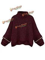 Старинные блудниц водолазку молния рукав вязаный свитер короткий