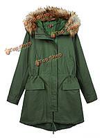 Тонкий шнурок хлопка с длинным рукавом капюшоном молния пальто
