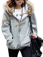 Женщины свободно карман на молнии с длинным рукавом с капюшоном верхняя одежда