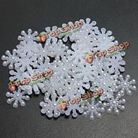 50шт белая Снежинка в форме плоской задней смолы украшения DIY ремесло